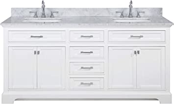 Design Element Ml 72 Wt Milano 72 White Bathroom Vanity With Double Sink Carrara Marble Countertop Amazon Com