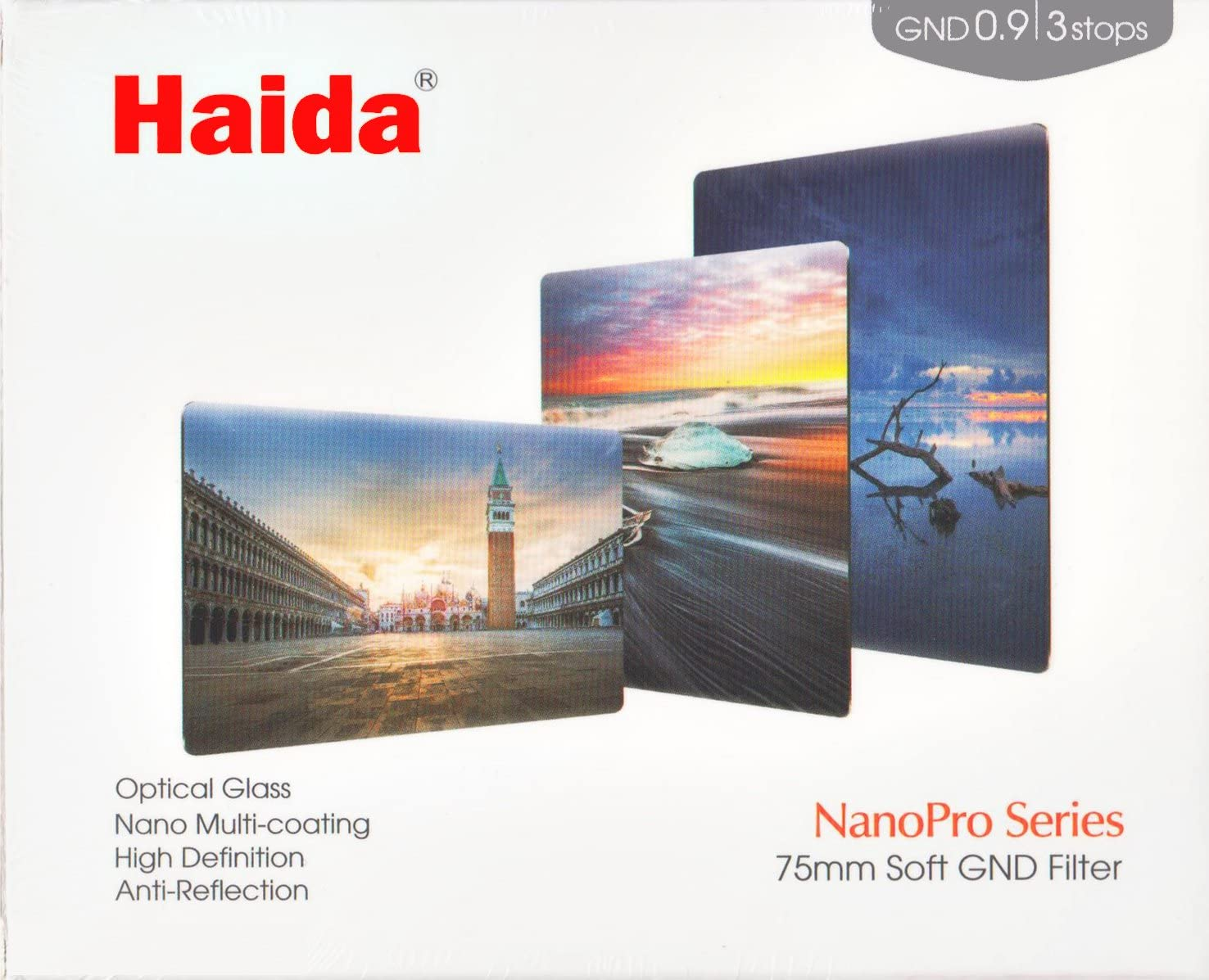 Haida NanoPro 75-Pro Soft Grad Filter GND0.9 ND8 0.9 75mm x 100mm HD3432