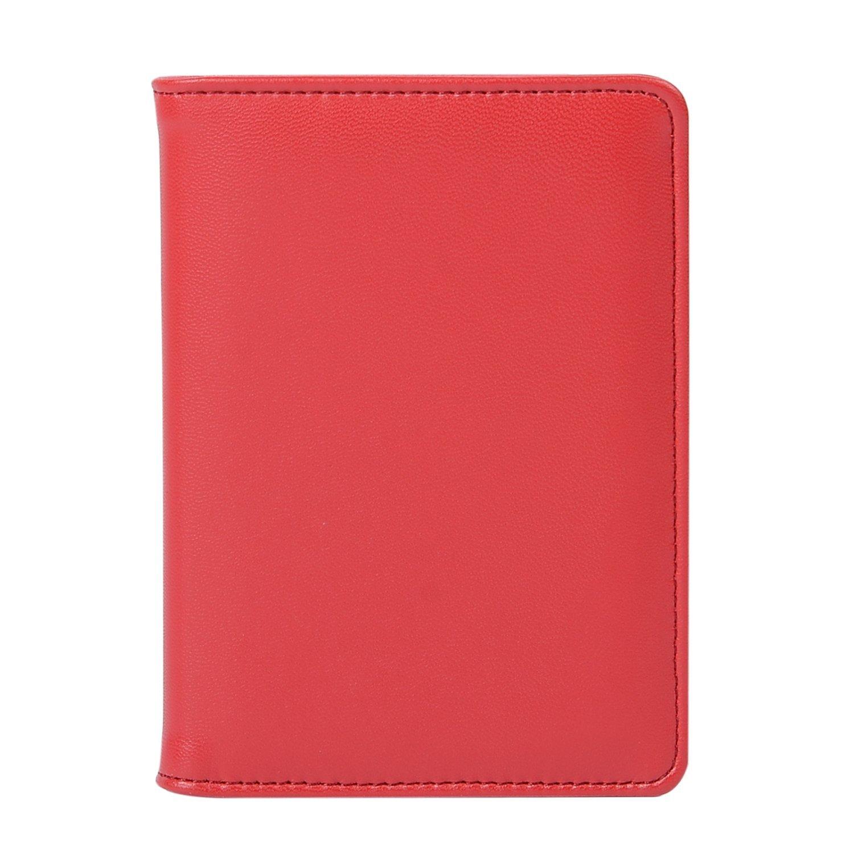 Leather Passport Holder Passport Cover Case Wallet for Men Women Travel (Rfid red)