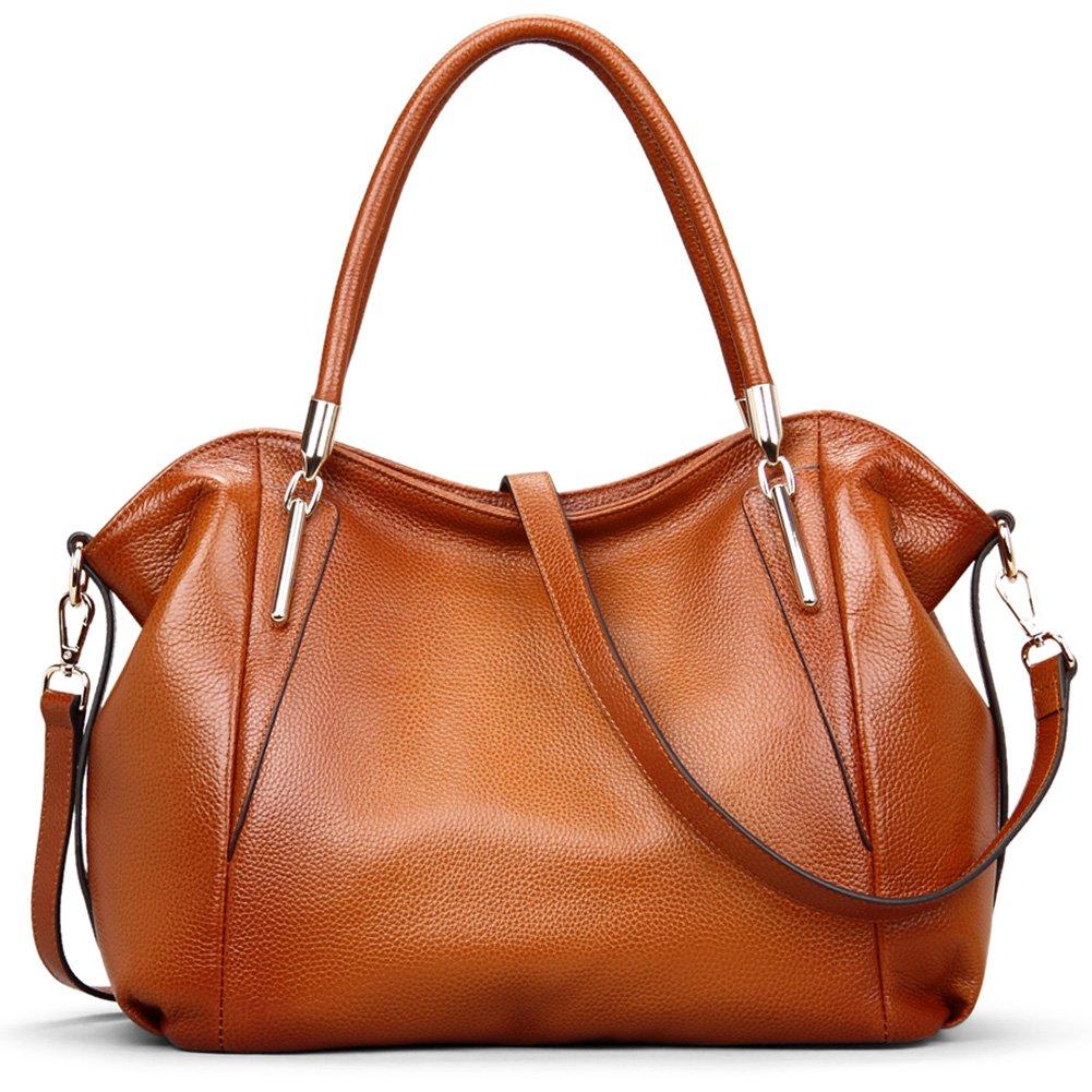 VATAN Women's Genuine Leather Handbags Fashion Leather Shoulder Bags Work Tote Bag (Brown)