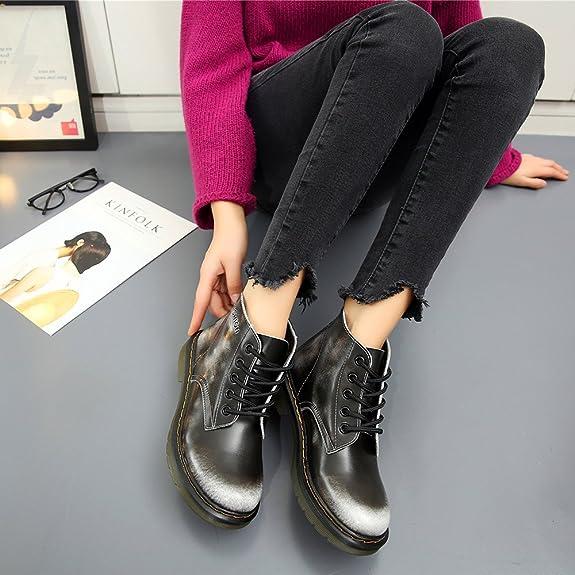 JACKSHIBO Donna Inverno Pelle Moda Caviglia Stivali Lace Up