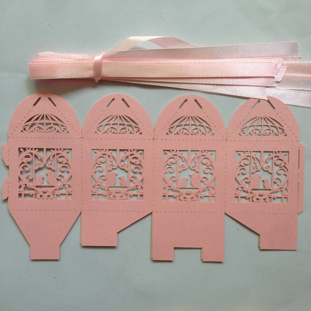 Amazon.com: Zorpia 50pcs Laser Cut Birdcage Wedding Favor Box candy ...