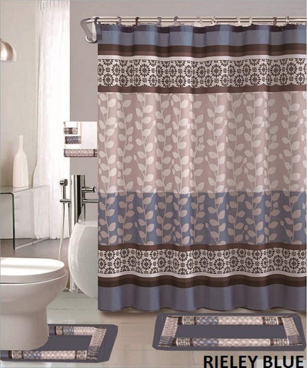 WPM WORLD PRODUCTS MART Riely 18-Piece Bathroom Set: 2-Rugs/mats, 1-Fabric Shower Curtain, 12-Fabric Covered Rings, 3-pc. Decorative Towel Set (Blue)