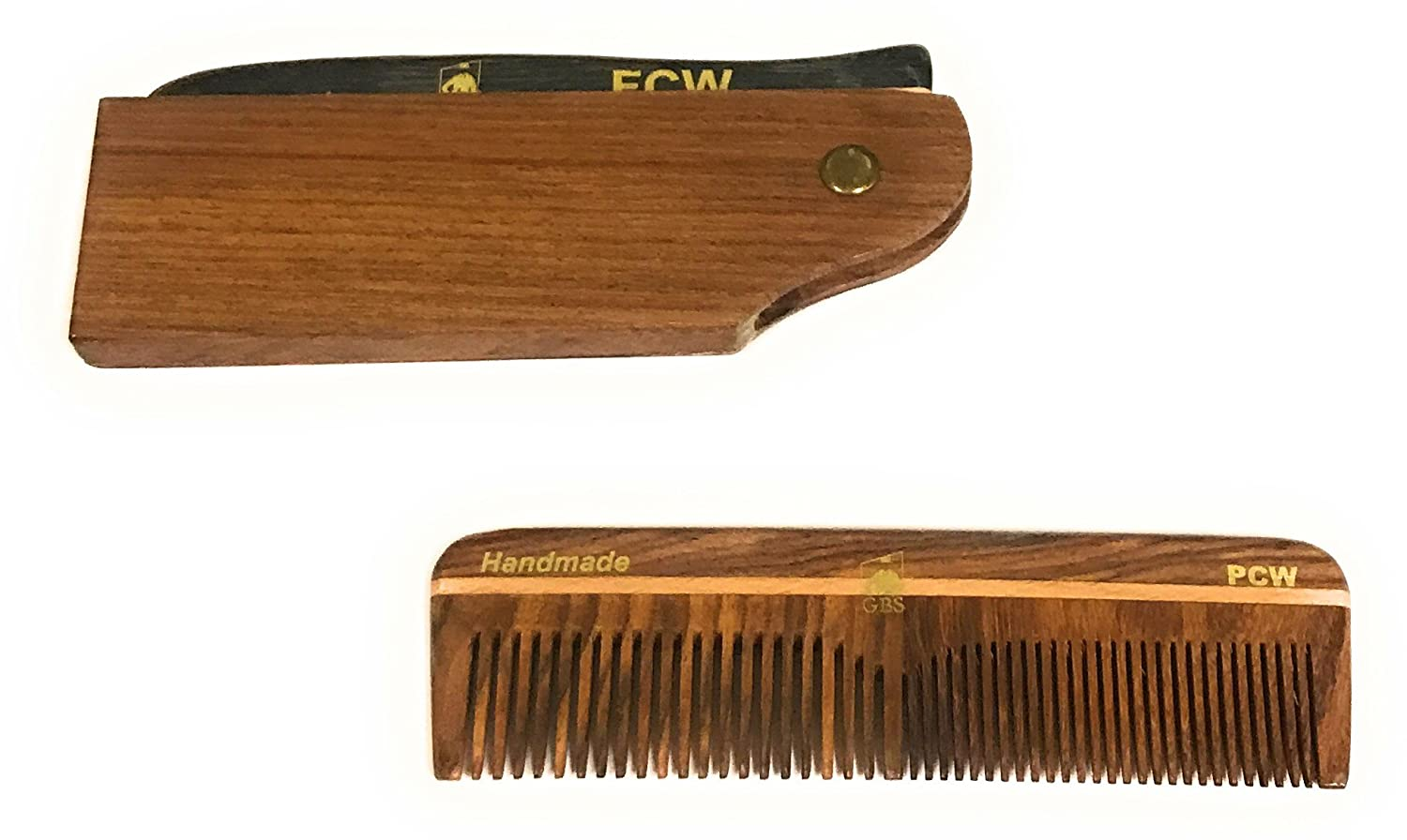 Gbs Mens Hair Care Comb Set Wood Switchblade Style Folding Comb All Fine 5 Coarse Fine Wood
