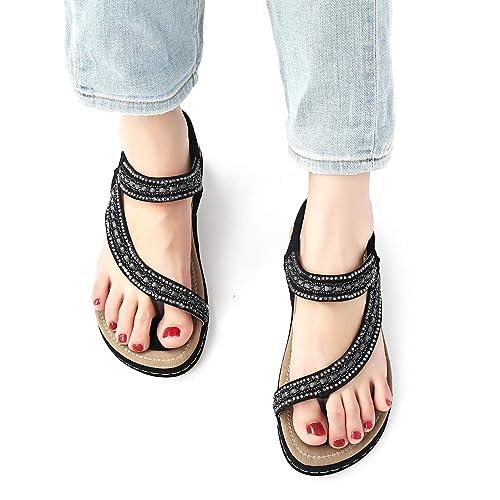 288a10e8f Camfosy Women Flat Sandals Summer Rhinestone T-bar Slippers Clip Toes  Backless Flip Flop Beach Boho Sandals Casual Walking Shoes Black   Amazon.co.uk  Shoes ...