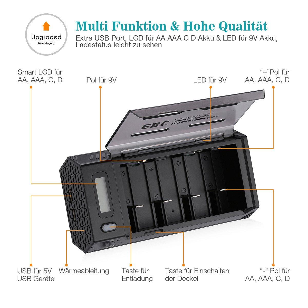 EBL 908 Universal LCD Akkuladegerät und Entladegerät für Ni-MH Ni-CD C D 9V AA AAA wiederaufladbare Akkus mit 2 USB Port (Akkus nicht inkl.)