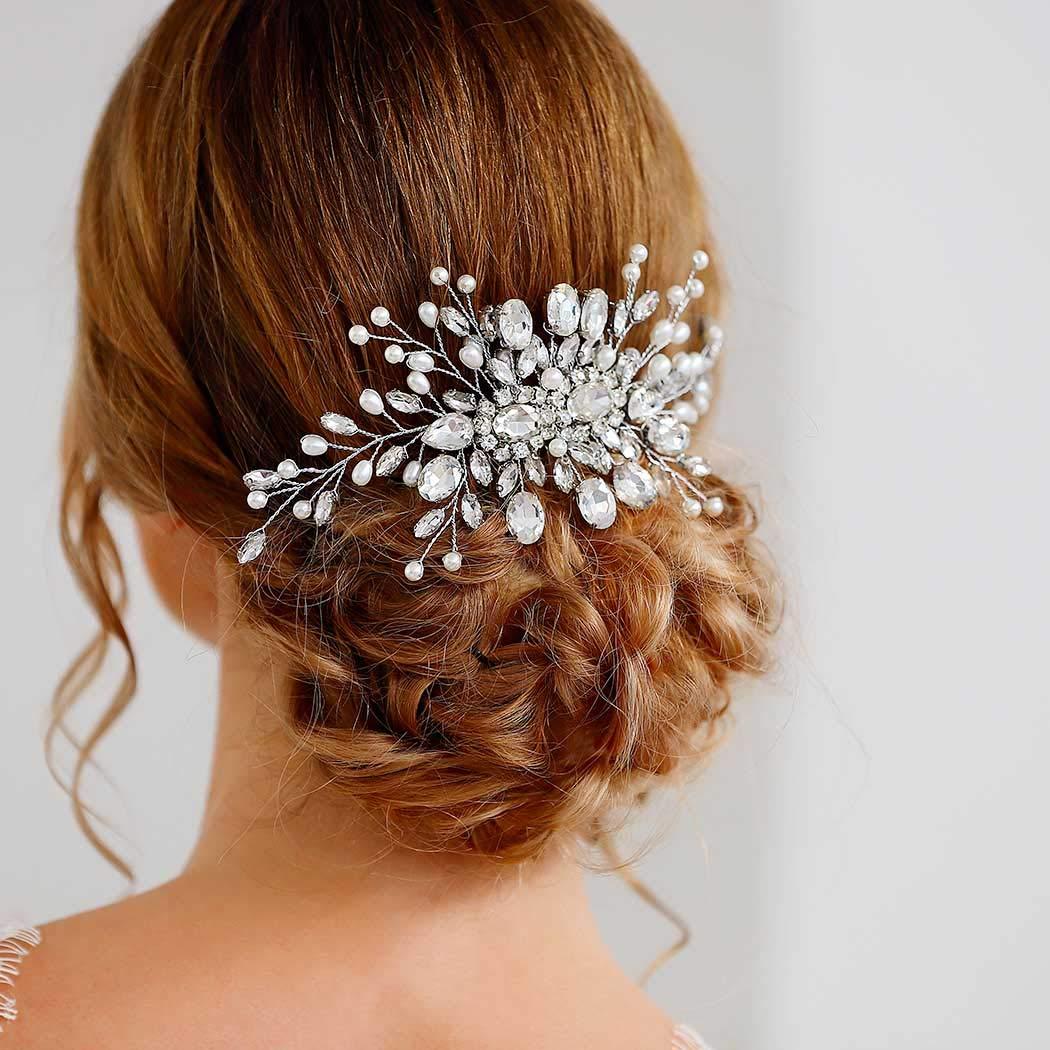 Silver Wedding Hair Comb Vintage Bridal Side Comb CO-022 Headpiece Rhinestone Bridal Comb Crystal /& White Pearl Wedding Hair Comb