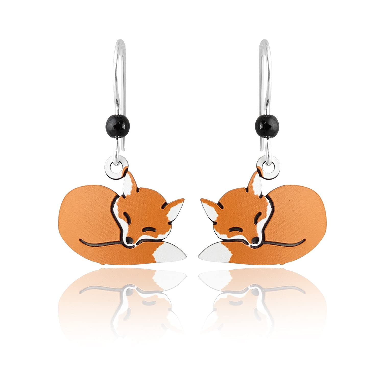 a33b2cdece81a Amazon.com: Sienna Sky Sleeping Red Fox Dangle Earrings, Sterling ...