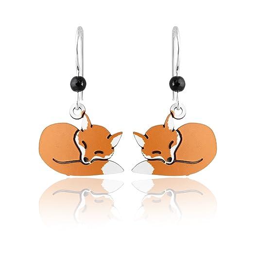 Sleeping Fox Earrings - Sterling Silver zGzuyT