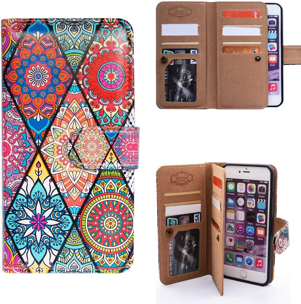 iPhone 7 Plus Wallet Case,iPhone 8 Plus Wallet Case,Bcov Mandala Floral Style Multifunctional Flip Leather Case Cover with Credit Card Slot ID Card Holder Money Pocket for iPhone 7+/8+