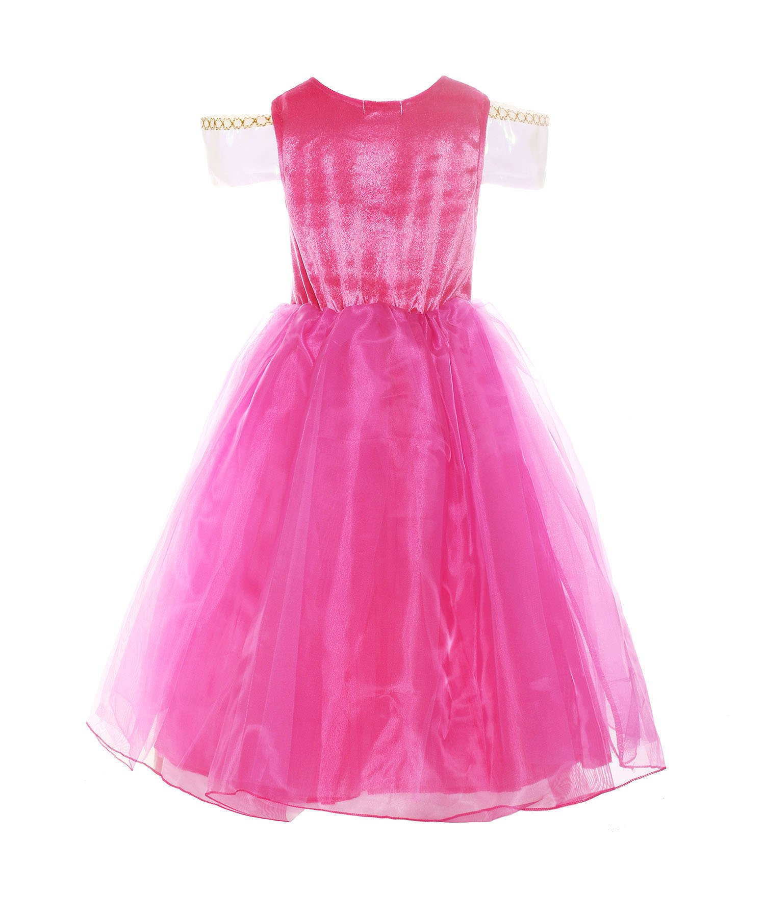 ReliBeauty Girls Drop Shoulder Princess Aurora Costume Dress up, Hot Pink, 7-8 by ReliBeauty (Image #2)