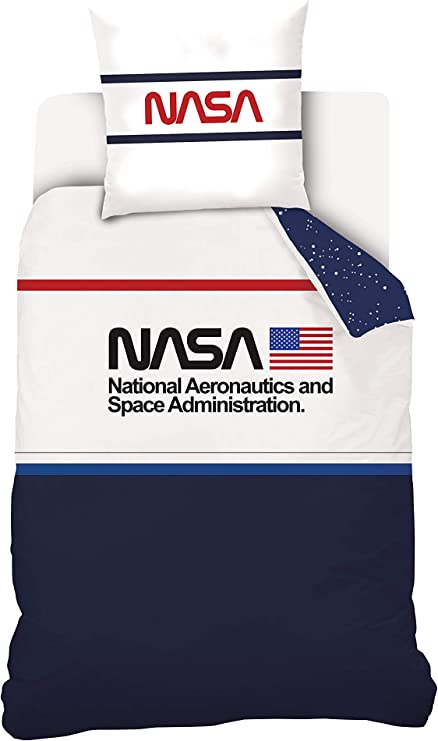 NASA - Juego de Cama (100% algodón), algodón, Azul / Blanco, 140 x 200 cm: Amazon.es: Hogar