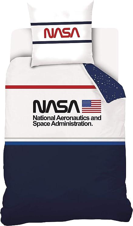 NASA - Juego de Cama (100% algodón), algodón, Azul / Blanco, 140 x ...