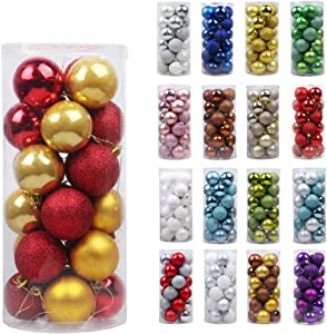 """GameXcel 24Pcs Christmas Balls Ornaments for Xmas Tree - Shatterproof Christmas Tree Decorations Large Hanging Ball Red & Gold 3.2"""" x 24 Pack"""