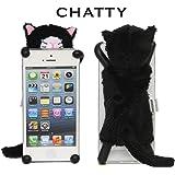 【iPhone 5 / 5S / 5C 対応! 】CHATTY 猫のぬいぐるみ iphoneカバー for iPhone5/5S/5C ねこのiPhoneケース ブラック