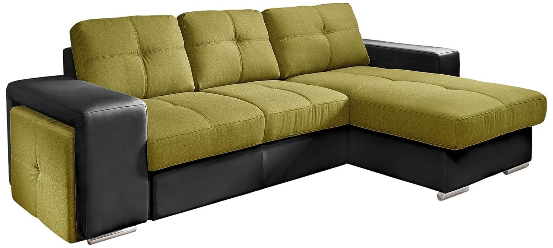 Cotta C209660 C308/H360 Polsterecke mit Schlaffunktion und Bettkasten, 278 x 157 cm, Kunstleder schwarz mit Strukturstoff grün