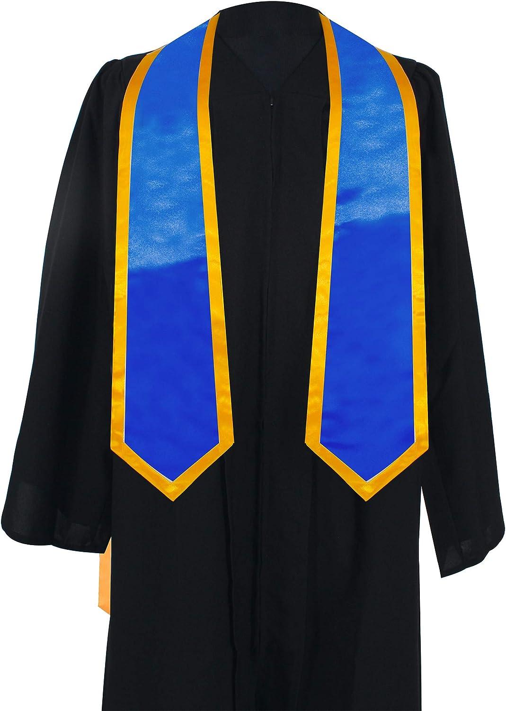 60 Long GraduationMall Plain Graduation Honor Stole Classic End With Trim Unisex Adult 72