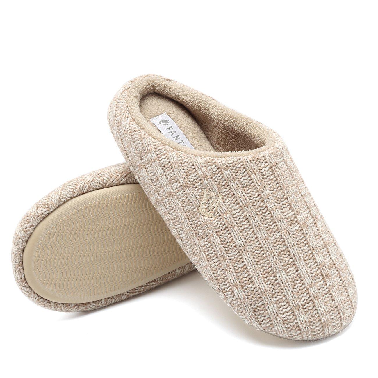 Fanture Women's House Slippers Indoor Memory Foam Cashmere Cotton Knitted Autumn Winter Anti-slip-U4MTW005-Khaki-42-43
