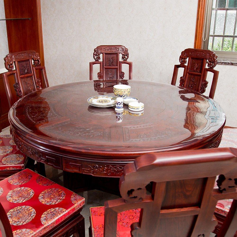 Durchsichtige Runden PVC Vinyl Tischtuch tischwäsche, Schreibtisch Tabletop Geldklammer Kunststoff Tischdecke, Verdicken sie Schützende Pad, Essen Kaffee Tabletop Abdeckung, Abwischen-Transparent 2.0mm Durchmesser 120cm
