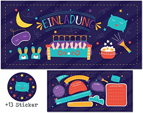 Madchen Jungen Party Mitgebsel Karten Geburtstag Pyjamaparty