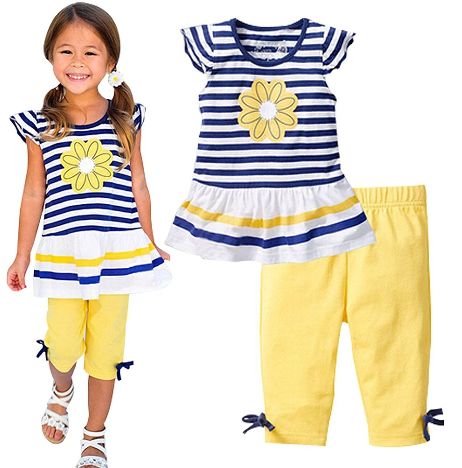 Kids Girls Summer Floral Striped Short Sleeve T-shirt Shorts Pant Casual Outfits BANGELY J070