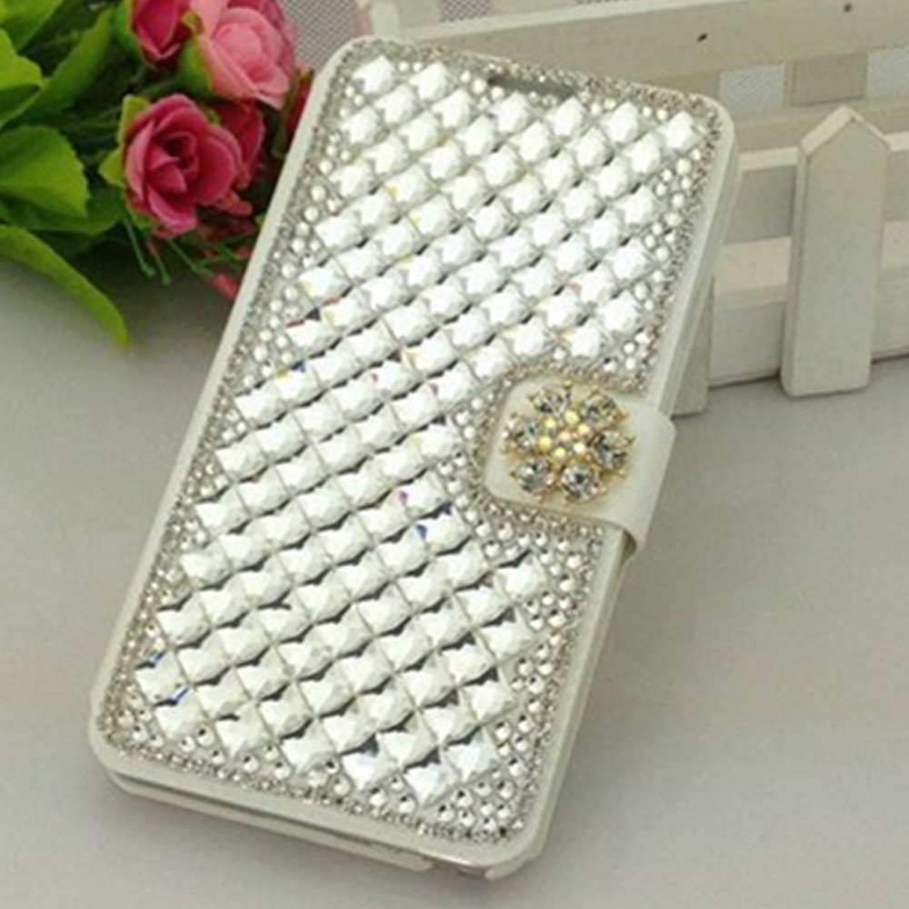 EVTECH(TM) Full Rhinestones GEM Series Luxury Crystal Diamond Bling Design PU Leather Wallet Cover Case for HTC One Mini 2 (HTC One M8 Mini) (100% Handcrafted)