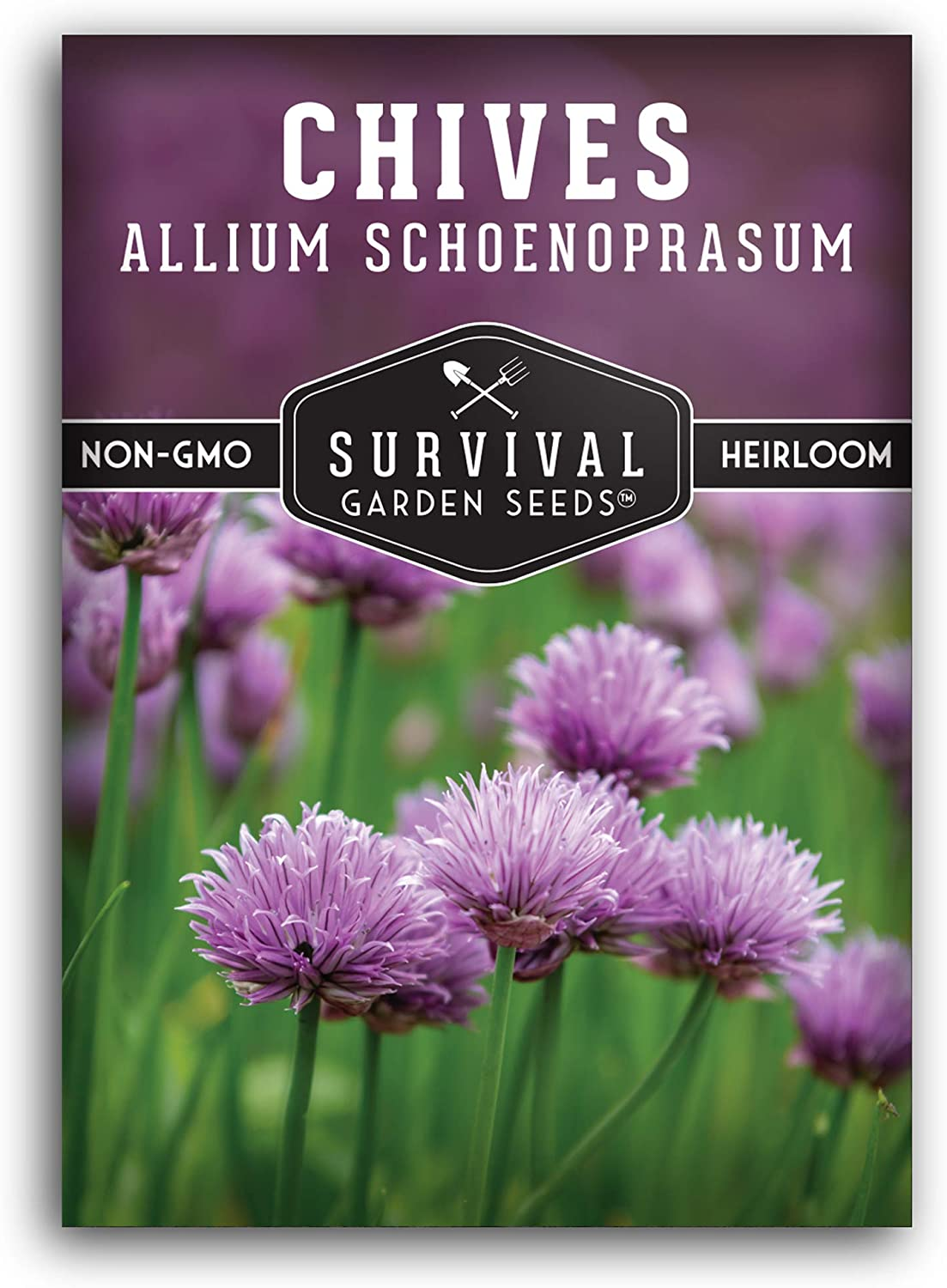 Survival Garden Seeds - Common Chives Seed for Planting - Packet with Instructions to Plant and Grow in Your Home Vegetable Garden - Non-GMO Heirloom Variety