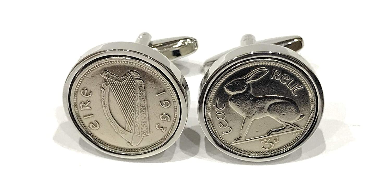 Premium 1963 Lucky Irish Threepence 3D for a 55th Birthday or Anniversary Cufflinks