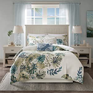 Harbor House Lorelai Duvet Cover Full/Queen Size - White, Green, Blue, Tropical Plants, Leaf Duvet Cover Set – 5 Piece – 100% Cotton Sateen, Cotton Percale Light Weight Bed Comforter Covers