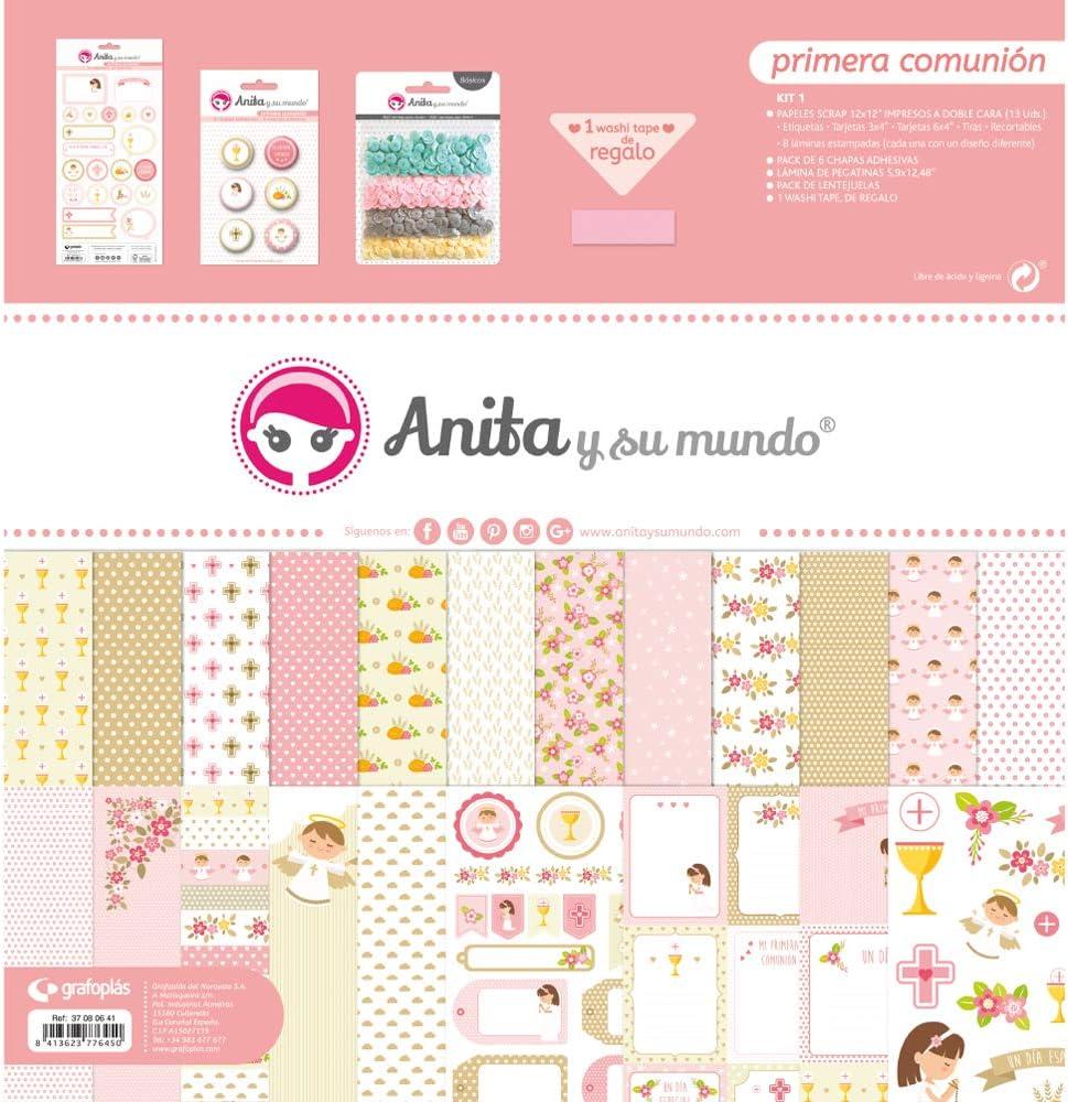 Anita y Su Mundo Primera Comunión Niña Kit Scrapbooking, Rosa, 30,5x30,5cm, 13