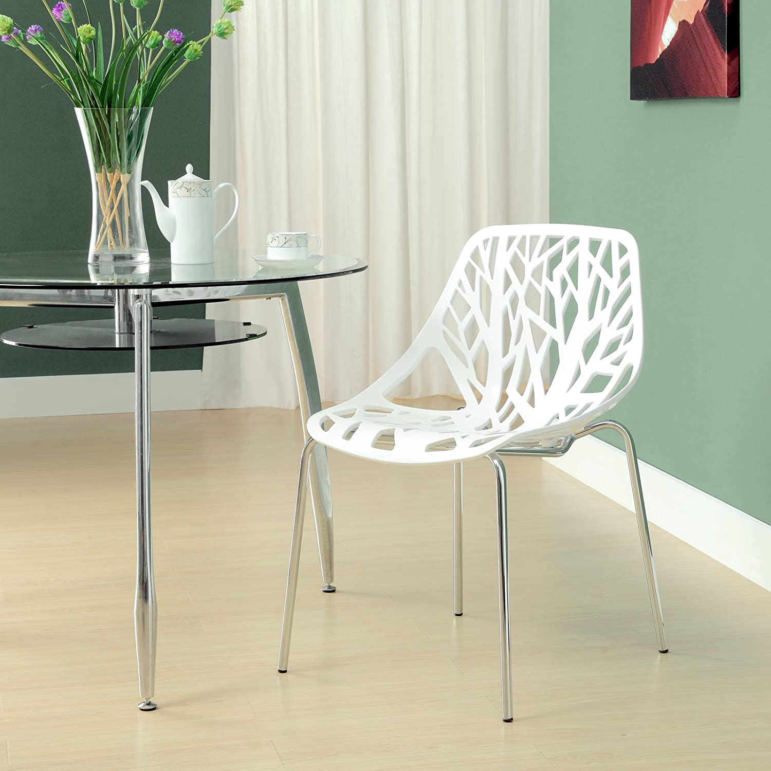Amazon Modway Stencil Stackable Dining Side Chair in White