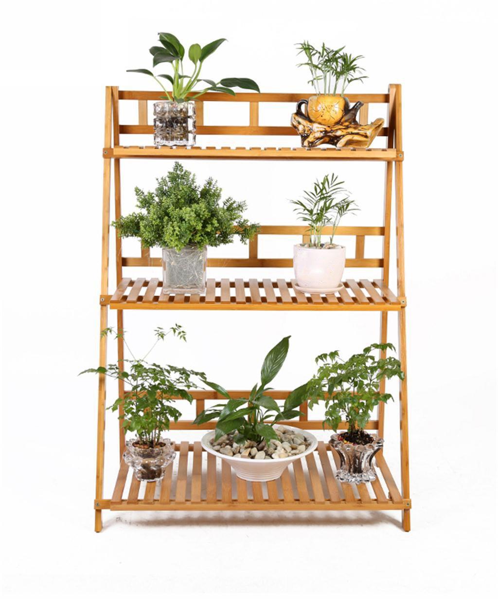 LB huajia ZHANWEI Bambus Blumentopf Regal Massivholz 3-lagig Blumenständer Wohnzimmer Einfache Boden Pflanze Stand 90 * 41 * 95cm