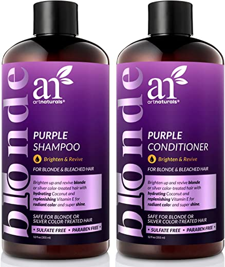 ArtNaturals Purple Shampoo and Conditioner Set – 2 x 12oz – Protects, Balances and Tones – Bleached, Color Treated, Silver, Brassy and Blonde Hair - Sulfate Free