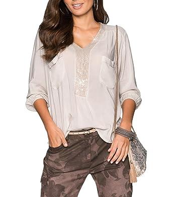 0ede9bdbc5251 Bigood Casual Femme Pull Col V Manche Longue T-Shirt avec Paillettes Large  Beige Size
