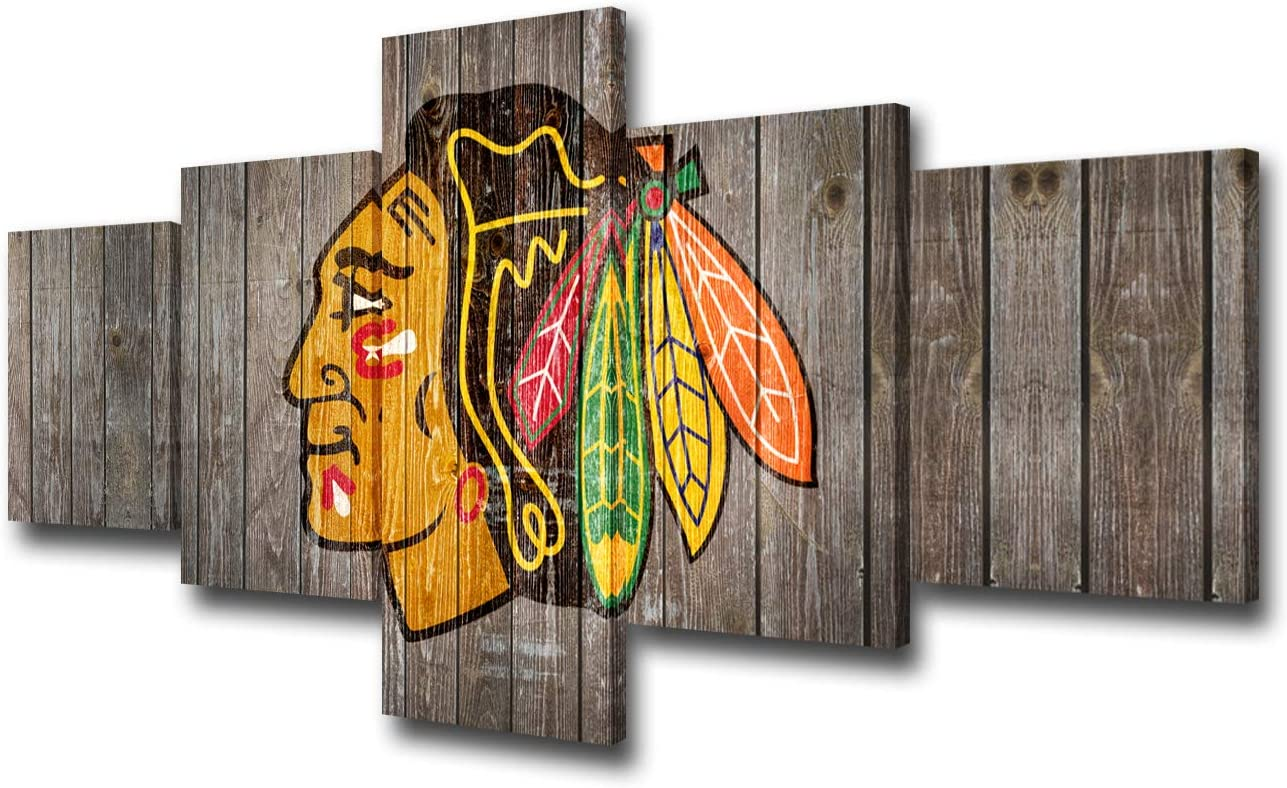 American Canvas Wall Art Chicago Blackhawks Team Painting Ice Hockey Team Prints Poster Sports Home Decor Living Room Indain People Logo Artwork Framed Stretched 5 Panel Ready to Hang(50Wx24H inches)