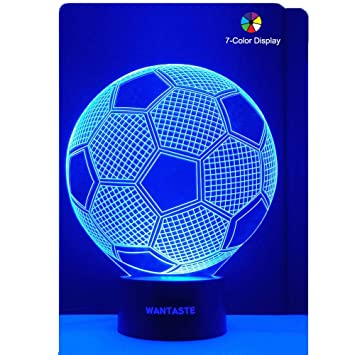 Wantaste 3d Soccer Ball Lamp Optical Illusion Night Light For Room