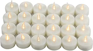 24 PCS Battery Operated Flameless LED Tea Light Candles Fake Flickering Electric Unscented Tealights for Easter Party Wedding Decorations Home Décor Long Lasting Batteries Included, Cream White