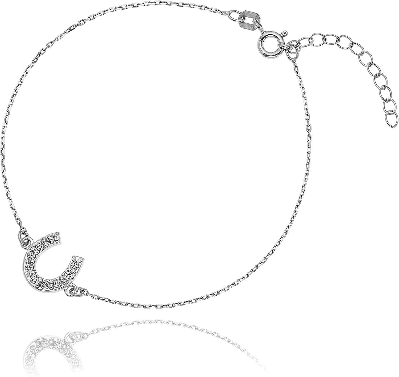 LillyMarie - Pulsera de plata auténtica con colgante de herradura, cristales de Swarovski, longitud ajustable, bolsa de satén