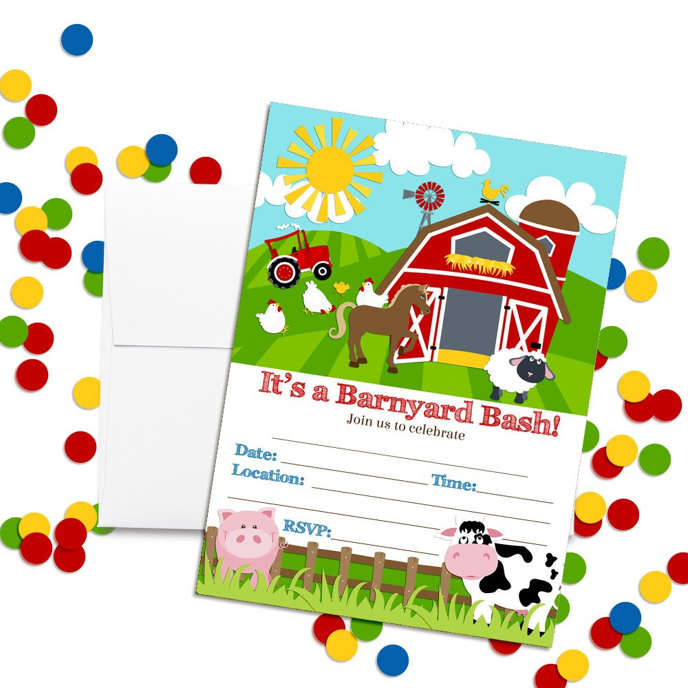 Barnyard Bash Farm and Barn Themed Birthday Party Invitations, Ten 5''x7'' Fill In Cards with 10 White Envelopes by AmandaCreation by Amanda Creation (Image #2)