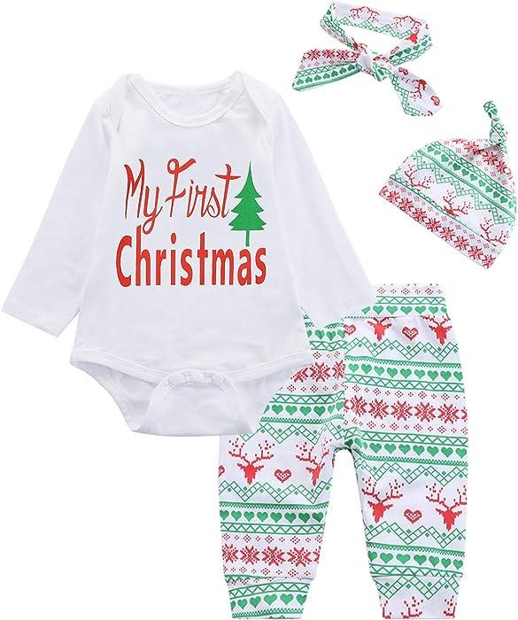 4PCS Baby Boys Girls My First Christmas Outfit Set Long Sleeve Romper - Amazon.com: 4PCS Baby Boys Girls My First Christmas Outfit Set Long