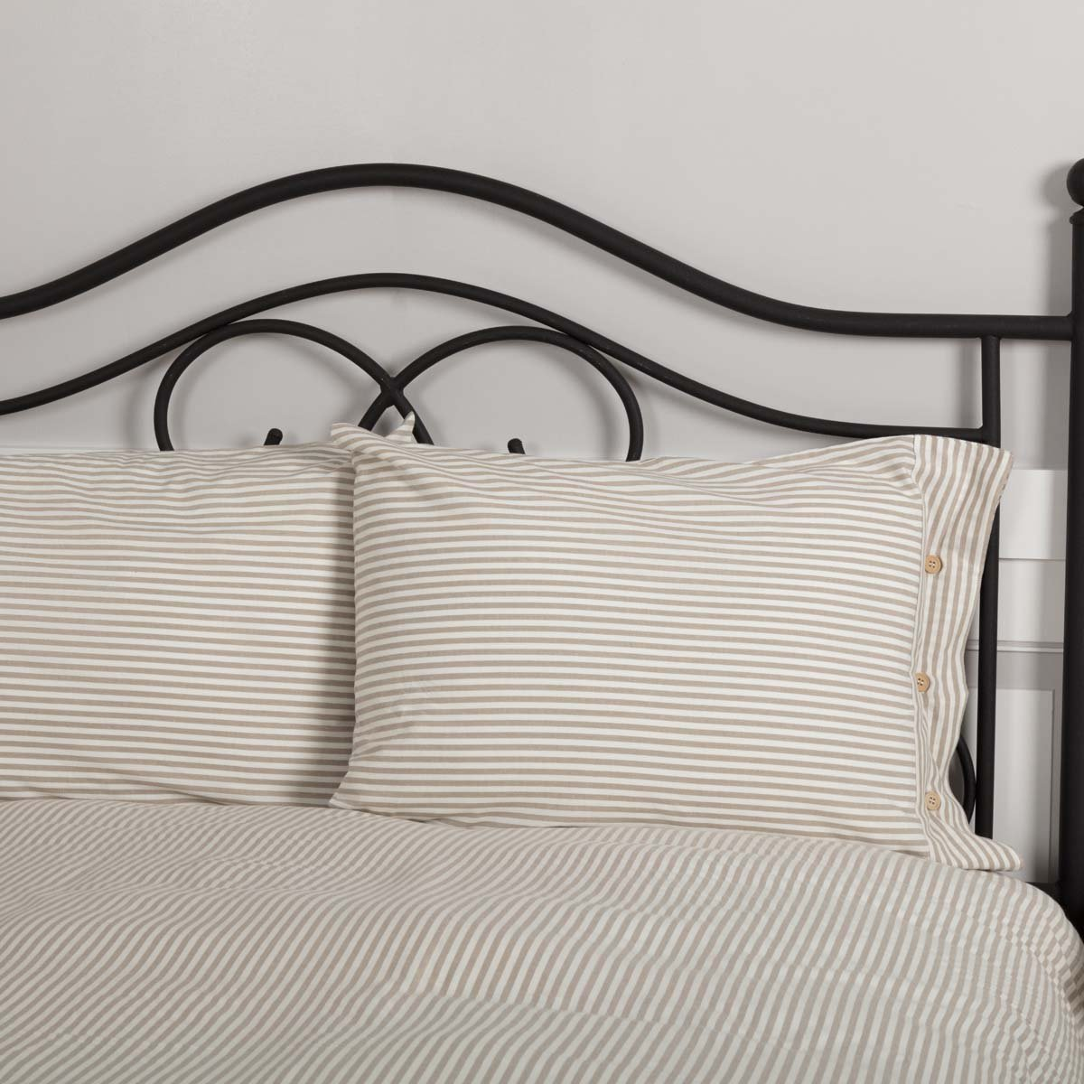 Piper Classics Farmhouse Ticking Stripe Taupe Standard Sham, 21'' x 27'', Bed Pillow Cover