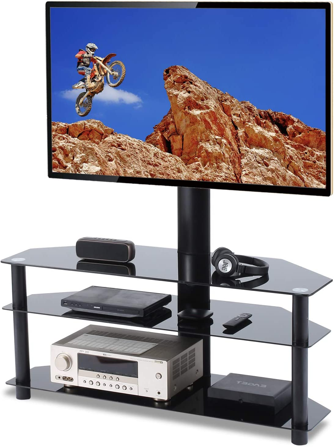 Floor TV Stand with Swivel Mount for 26-55 inch Flat or Curved Screen TVs