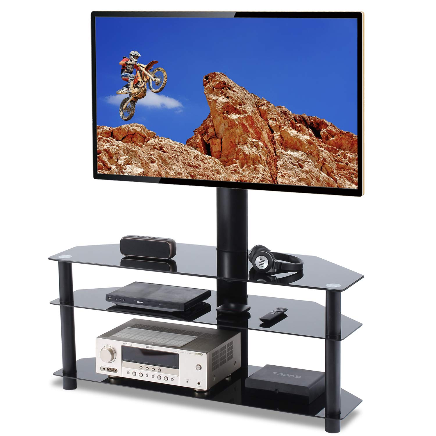 TAVR Swivel Floor TV Stand with Mount 3-in-1 Flat Panel Height Adjustable Entertainment Stand for 32 37 42 47 50 55 60 65 inch Plasma LCD LED QLED Flat or Curved Screen TV 3-Tier Media Stand TW1002 by TAVR Furniture
