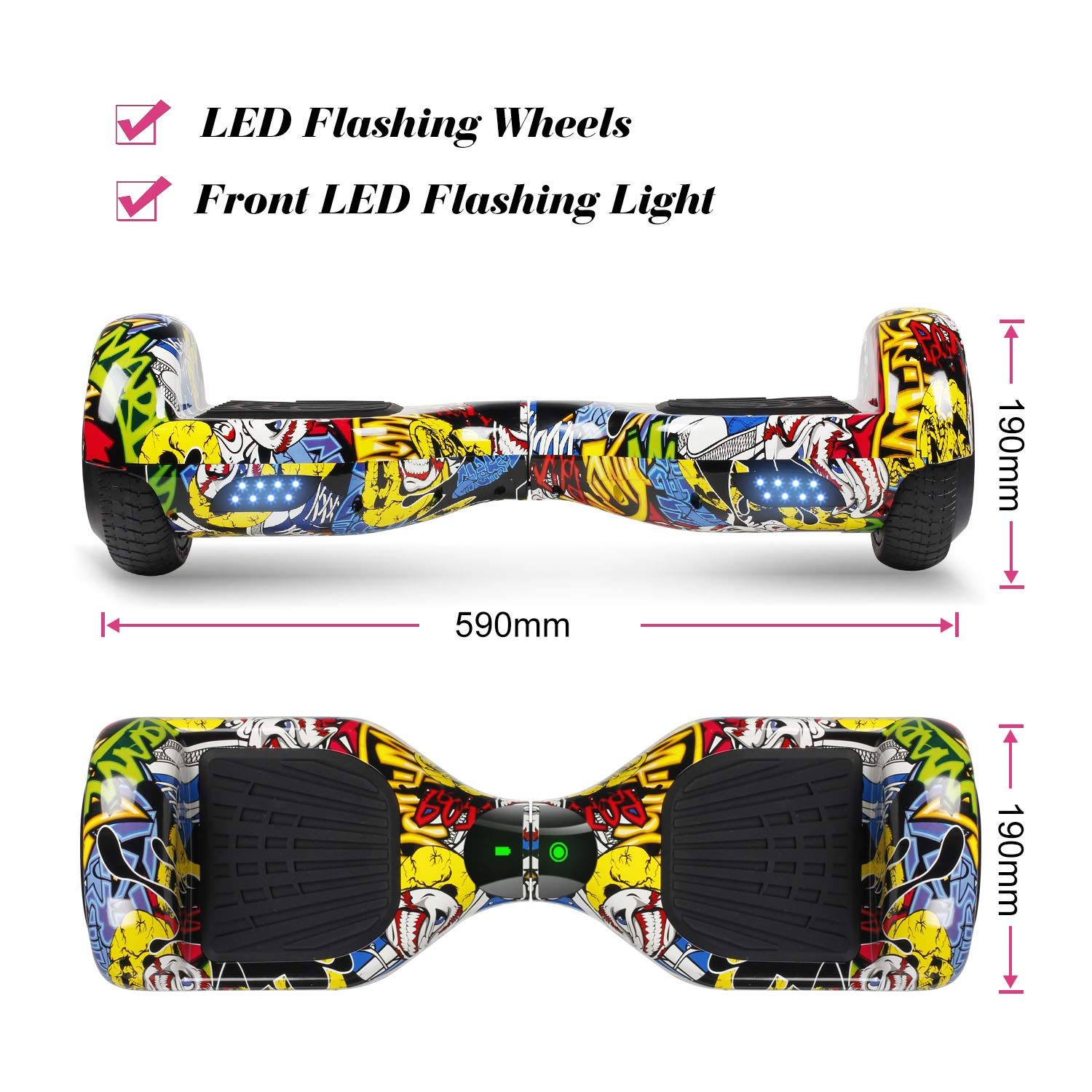 SISIGAD Hoverboard Self Balancing Scooter 6.5'' Two-Wheel Self Balancing Hoverboard with LED Lights Electric Scooter for Adult Kids Gift UL 2272 Certified Fun Edition - Graffiti by SISIGAD (Image #2)