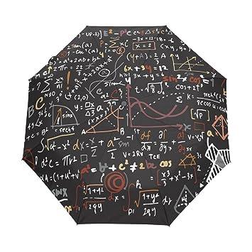 bennigiry lineal de matemáticas matemáticas automático 3 plegable sombrilla sol protección Anti-UV paraguas para