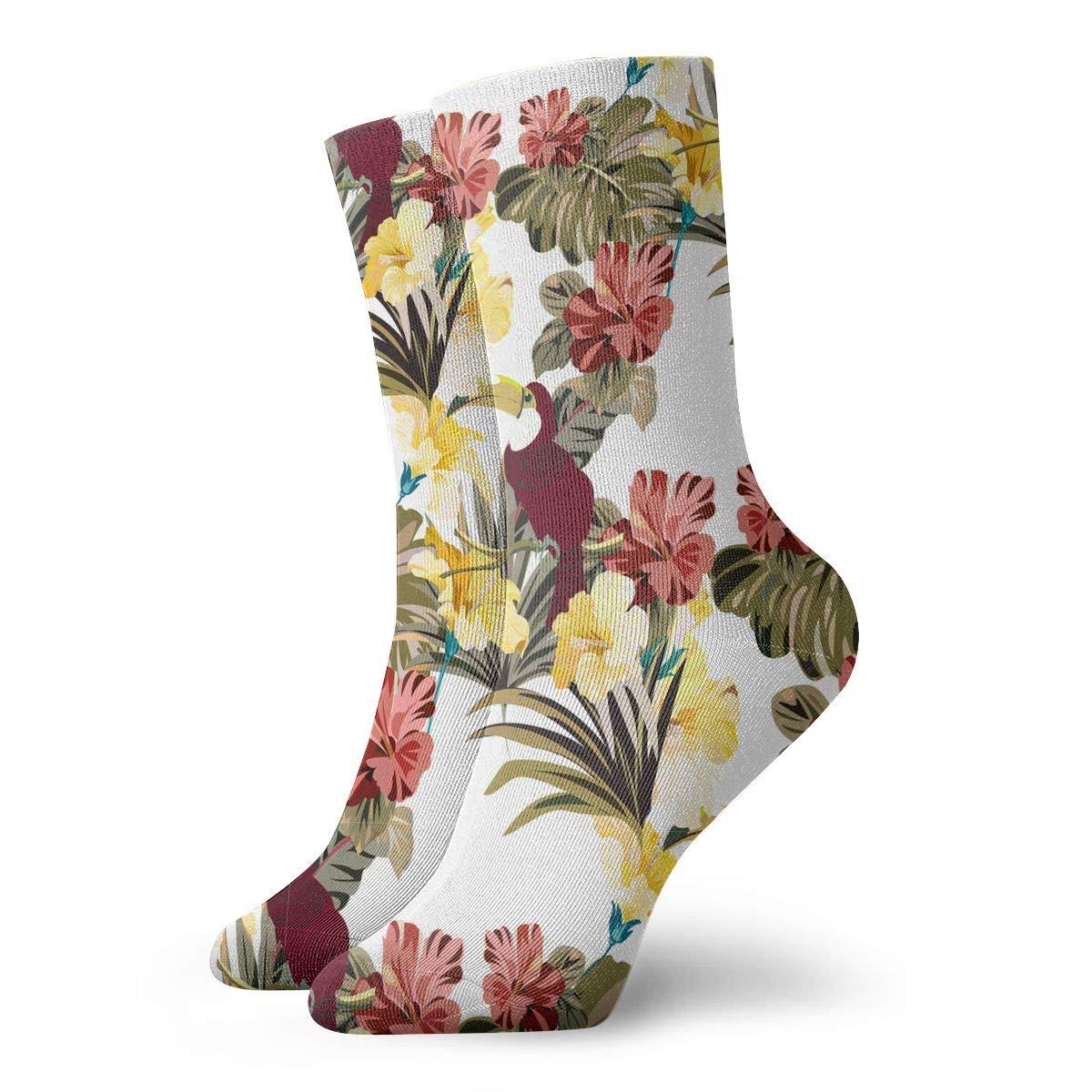 The Brightly Colored Jungle Of Birds Fashion Dress Socks Short Socks Leisure Travel 11.8 Inch