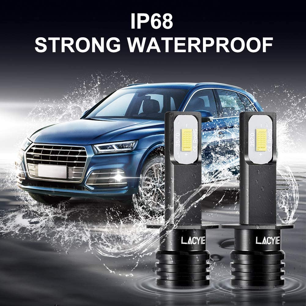 Lacyie 60W CSP Bright Fog Lights Bulbs IP68 Waterproof Greater Comfort and Safety 6000K 3000 Lumens LED Lamps Car LED Bulbs 2Pcs Cold White H1 Headlight Bulb