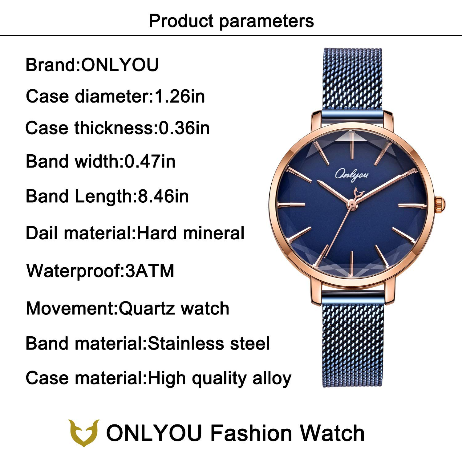 ONLYOU Women's Fashion Watches,Unique Face Design and 30M Waterproof,Analog Quartz Wristwatches with Stainless Steel Mesh Band (Blue) by onlyou (Image #4)