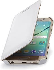 StilGut Housse pour Samsung Galaxy S6 Edge en Cuir véritable à Ouverture latérale, Blanc