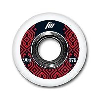 FreeWheeling Set nr. 4 Ruote Pattini In Line e Skateboard Aggressive 57mm 90A Nero-Rosso 1117576